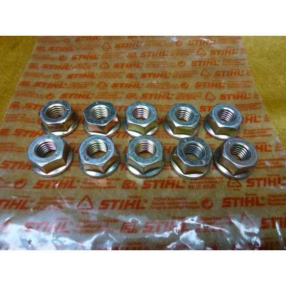 NEU Original Stihl 10x Mutter SW 17 DIN 6923-M10-8 9220 260 1300 / 92202601300 / 9220-260-1300